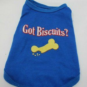 Got Biscuts Size S Pet Sleeveless Blue Tank Top
